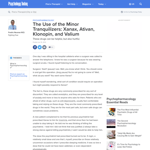 The Use of the Minor Tranquilizers: Xanax, Ativan, Klonopin, and Valium