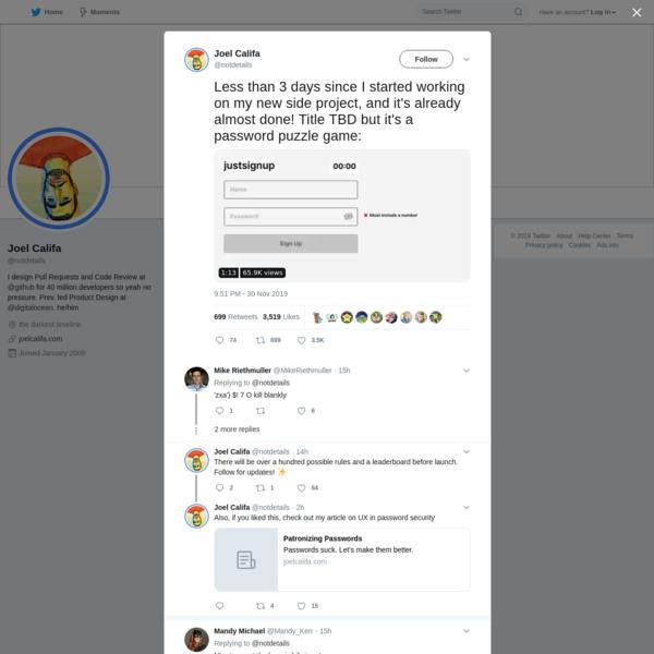 Joel Califa on Twitter