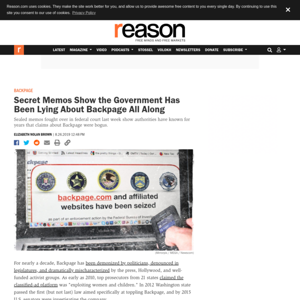 Secret Memos Show the Government Has Been Lying About Backpage All Along