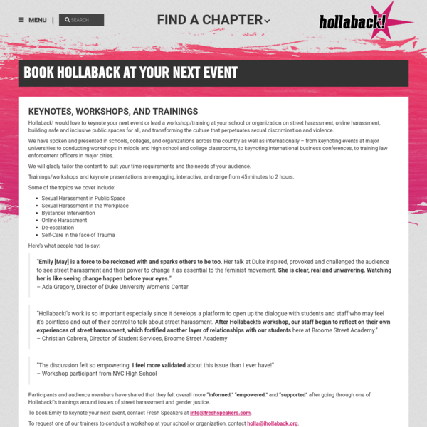 Book Hollaback at Your Next Event | Hollaback! Together We Have the Power to End Harassment