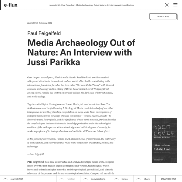 Media Archaeology Out of Nature: An Interview with Jussi Parikka