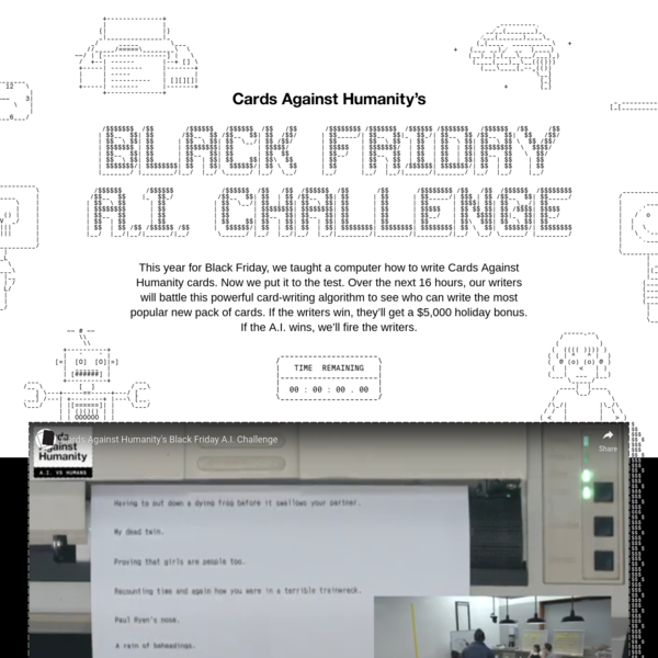 Cards Against Humanity's Black Friday A.I. Challenge