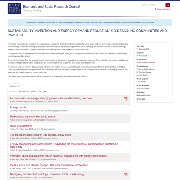 SUSTAINABILITY INVENTION AND ENERGY DEMAND REDUCTION: CO-DESIGNING COMMUNITIES AND PRACTICE