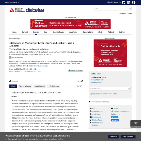 Elevations in Markers of Liver Injury and Risk of Type 2 Diabetes