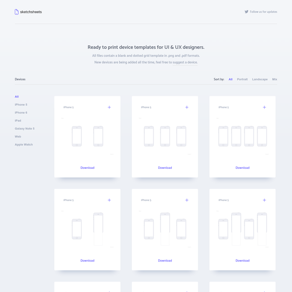 Printable sketch sheets for UI & UX designers