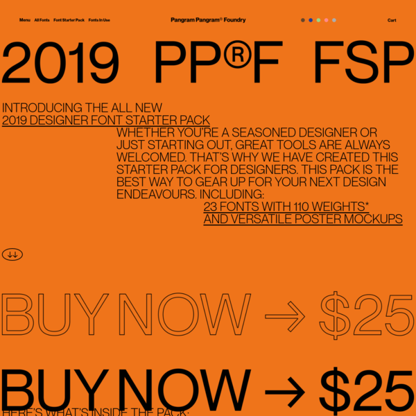 The 2019 Pangram Pangram® Designer Font Starter Pack