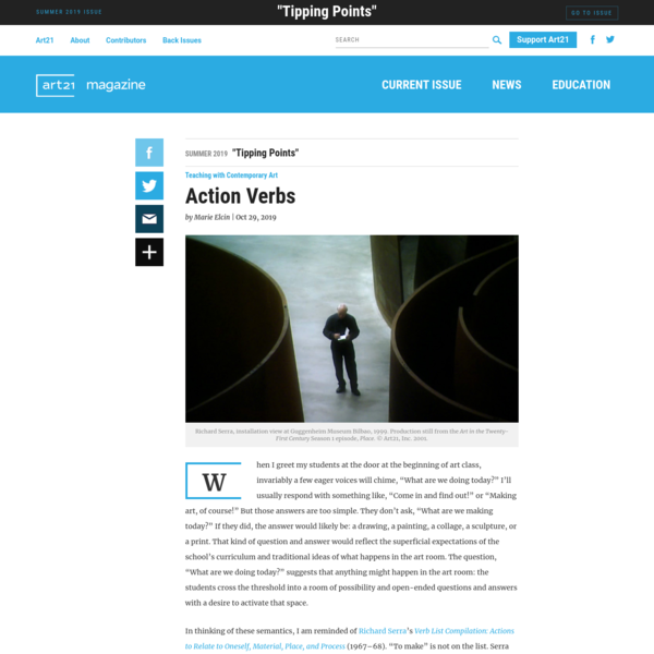 Action Verbs | Art21 Magazine