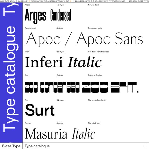 Blaze Type | Type catalogue
