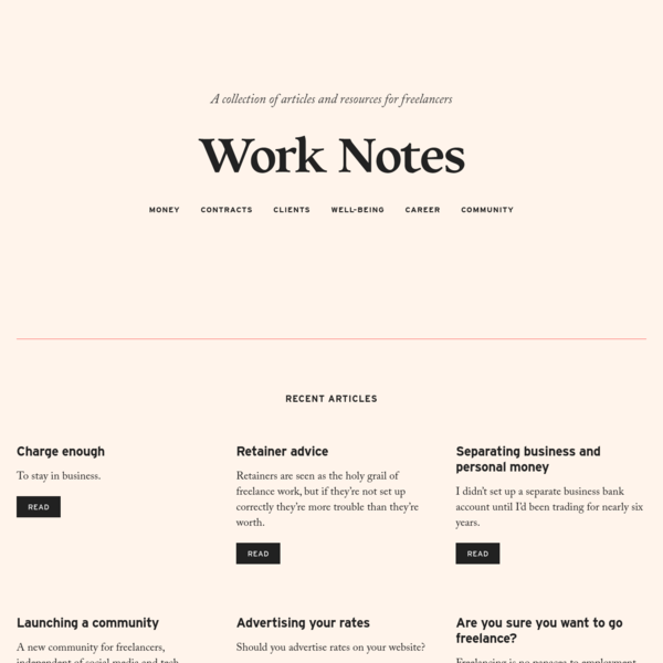 Work Notes - Thoughts on freelancing