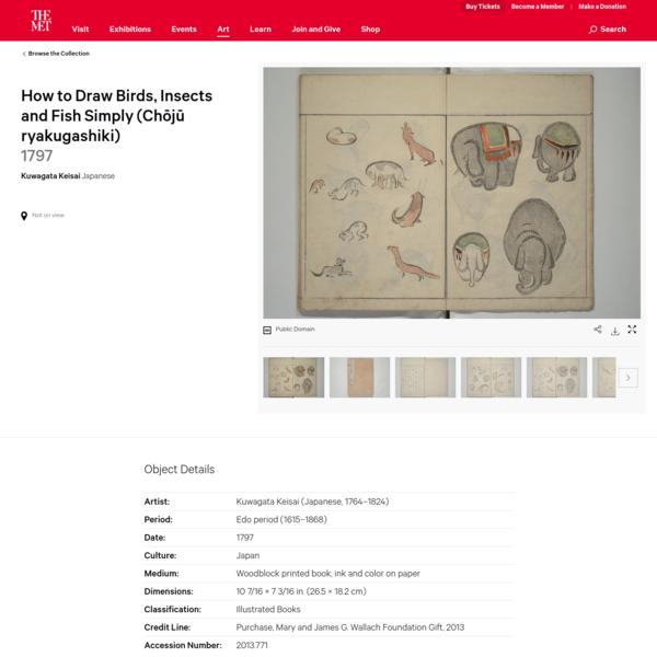 Kuwagata Keisai | How to Draw Birds, Insects and Fish Simply (Chōjū ryakugashiki) | Japan | Edo period (1615-1868) | The Met