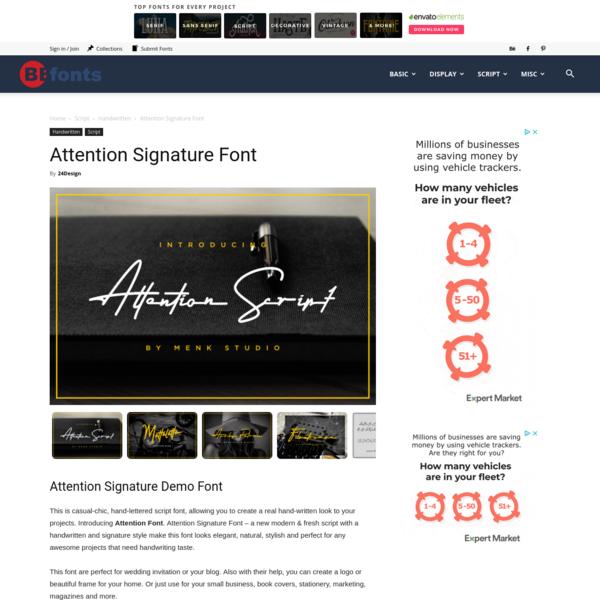 Attention Signature Font - Befonts.com