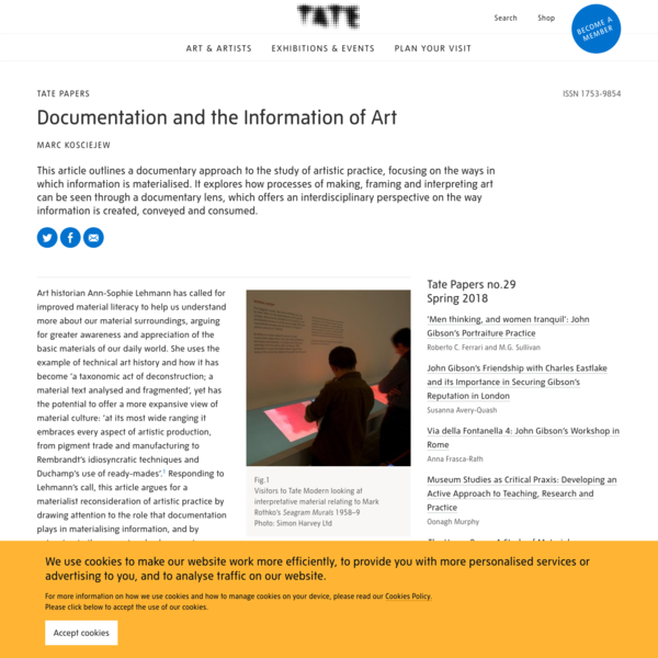 Documentation and the Information of Art - Tate Papers   Tate