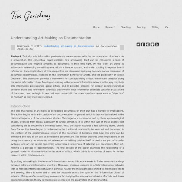 Understanding Art-Making as Documentation