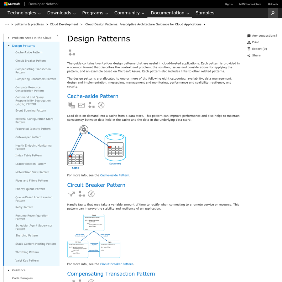The guide contains twenty-four design patterns that are useful in cloud-hosted applications. Each pattern is provided in a common format that describes the context and problem, the solution, issues and considerations for applying the pattern, and an example based on Microsoft Azure. Each pattern also includes links to other related patterns.