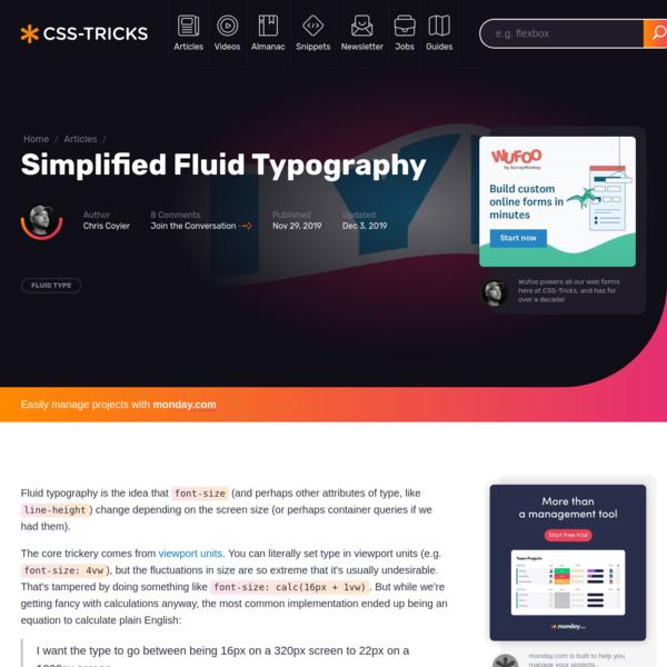 Simplified Fluid Typography   CSS-Tricks