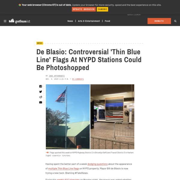 De Blasio: Controversial 'Thin Blue Line' Flags At NYPD Stations Could Be Photoshopped - Gothamist