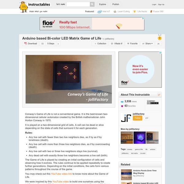 Arduino based Bi-color LED Matrix Game of Life