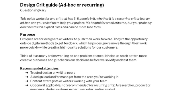 Design Crit Guide by @Kary