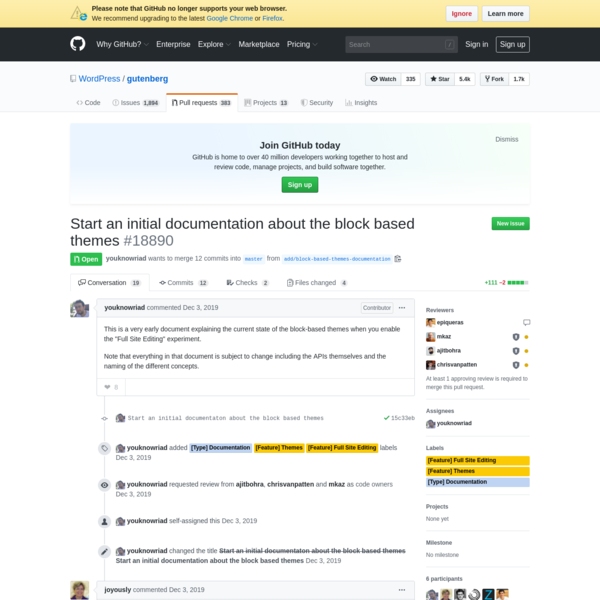 Start an initial documentation about the block based themes by youknowriad · Pull Request #18890 · WordPress/gutenberg