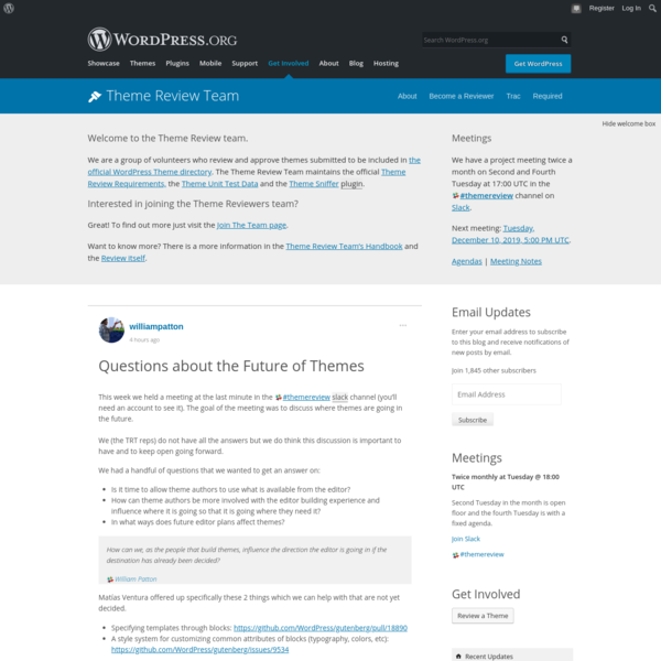 Questions about the Future of Themes