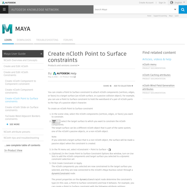 Create nCloth Point to Surface constraints