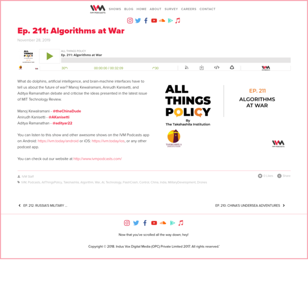 Ep. 211: Algorithms at War - IVM Podcasts - Indian Podcasts for you to listen to