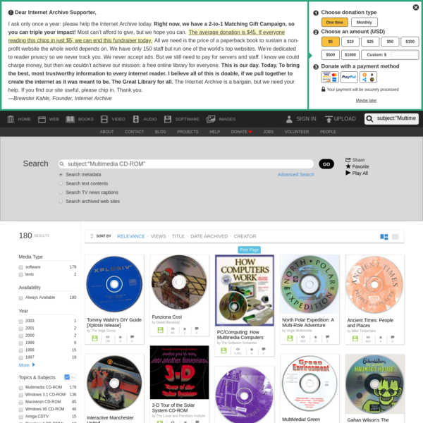 """Internet Archive Search: subject:""""Multimedia CD-ROM"""""""