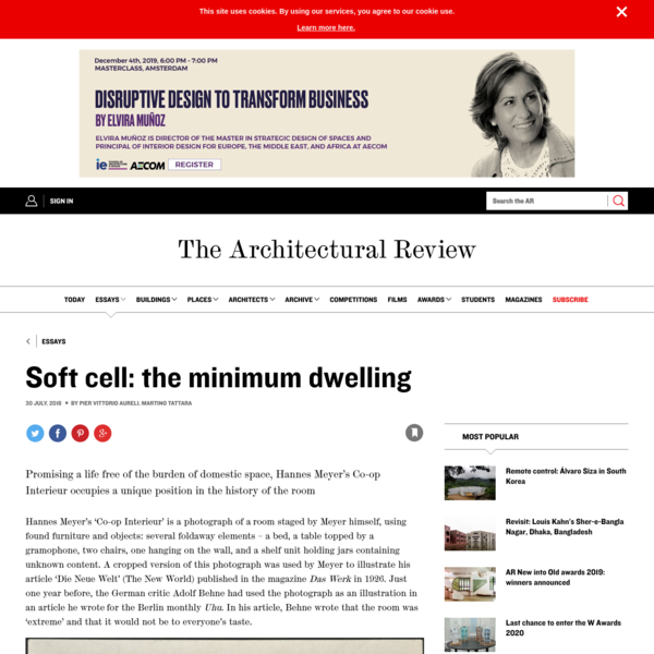 Soft cell: the minimum dwelling | Essay | Architectural Review