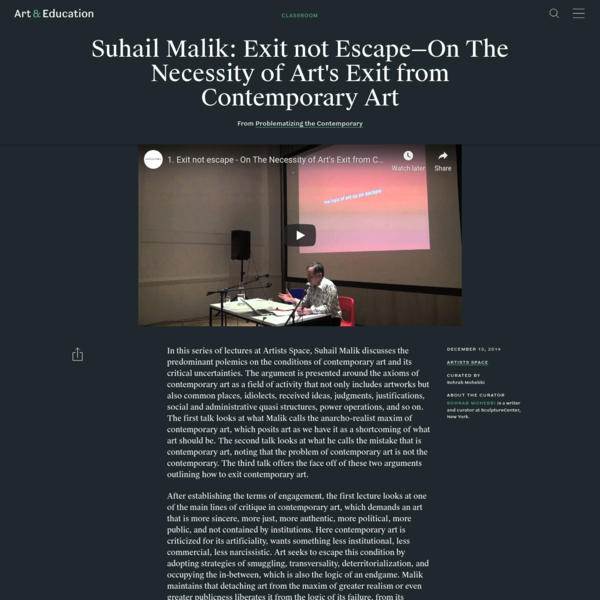 Suhail Malik: Exit not Escape-On The Necessity of Art's Exit from Contemporary Art - Classroom - Art & Education