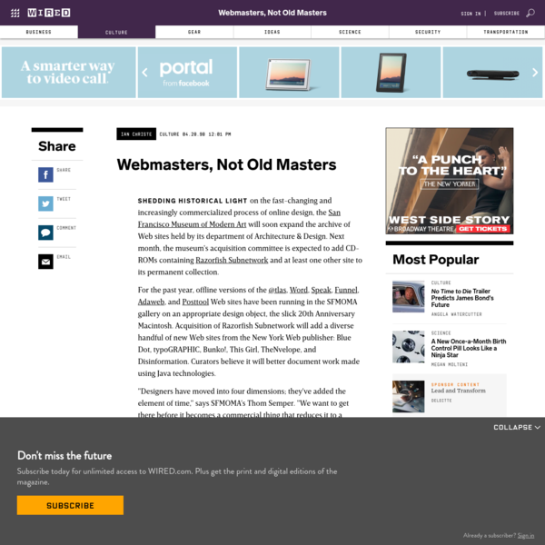 Webmasters, Not Old Masters
