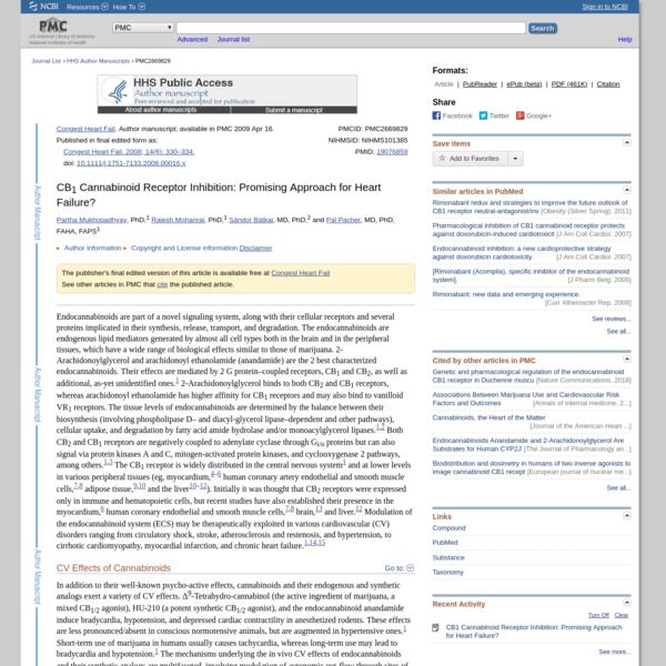 CB1 Cannabinoid Receptor Inhibition: Promising Approach for Heart Failure?