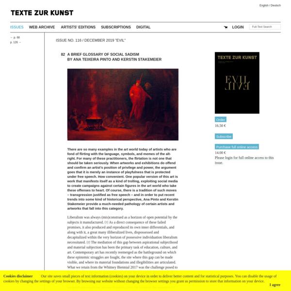 Ein kurzes Glossar zum sozialen Sadismus von Ana Teixeira Pinto und Kerstin Stakemeier