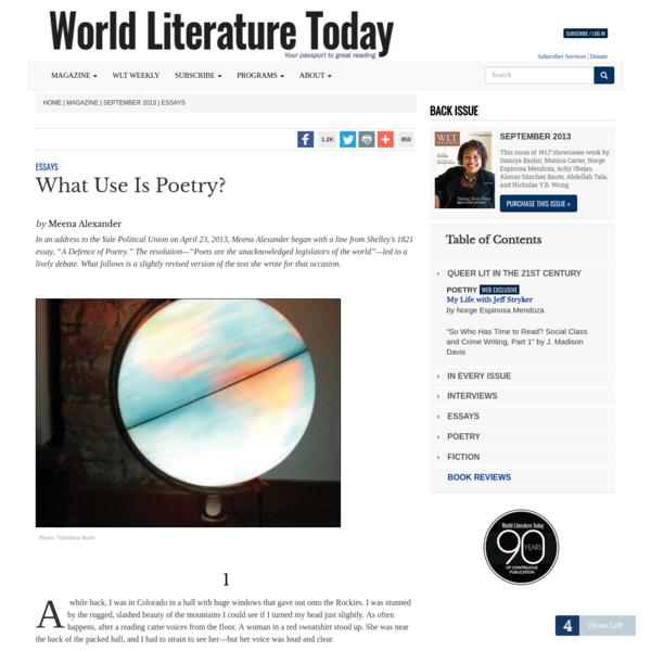 """What Use Is Poetry?"" by Meena Alexander"