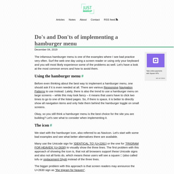 Do's and Don'ts of implementing a hamburger menu