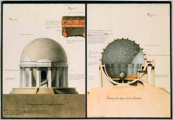 Élévation géométrale du temple de la Terre, J-J Lequeu
