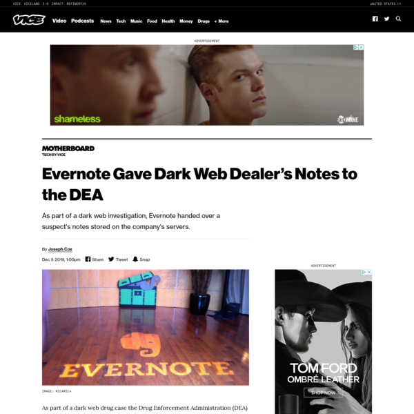 Evernote Gave Dark Web Dealer's Notes to the DEA