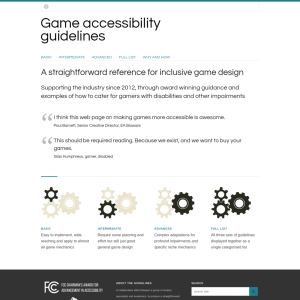 Game accessibility guidelines | A straightforward reference for inclusive game design