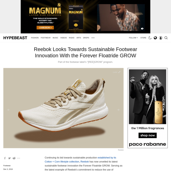 Reebok Looks Towards Sustainable Footwear Innovation With the Forever Floatride GROW
