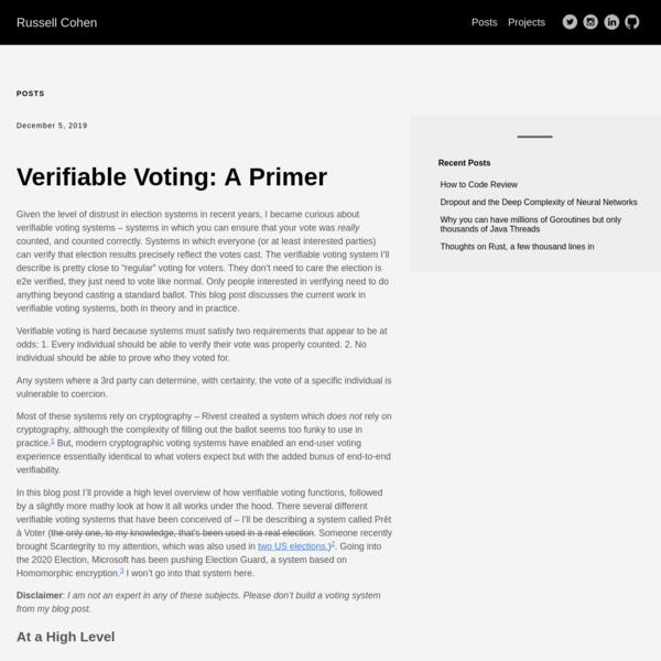 Verifiable Voting: A Primer
