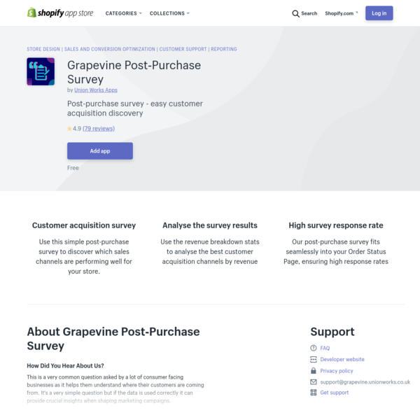Grapevine Post‑Purchase Survey - Ecommerce Plugins for Online Stores - Shopify App Store