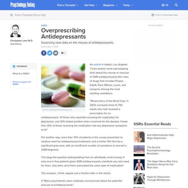 Overprescribing Antidepressants