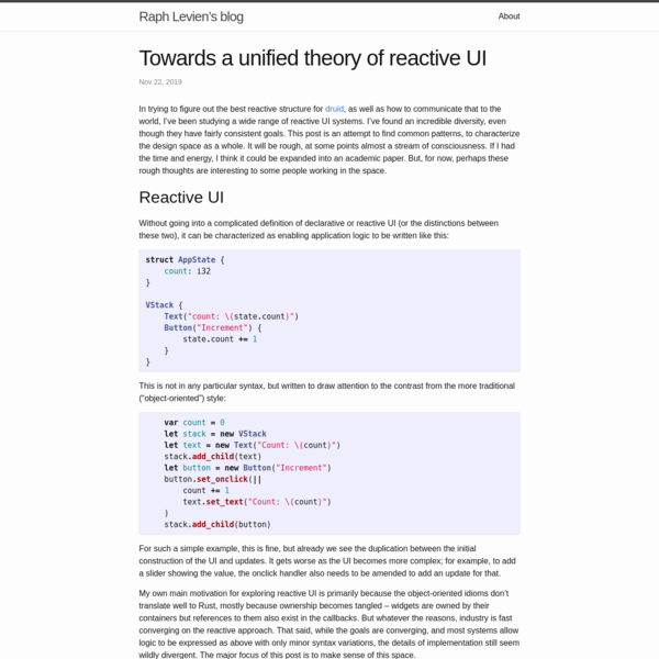 Towards a unified theory of reactive UI