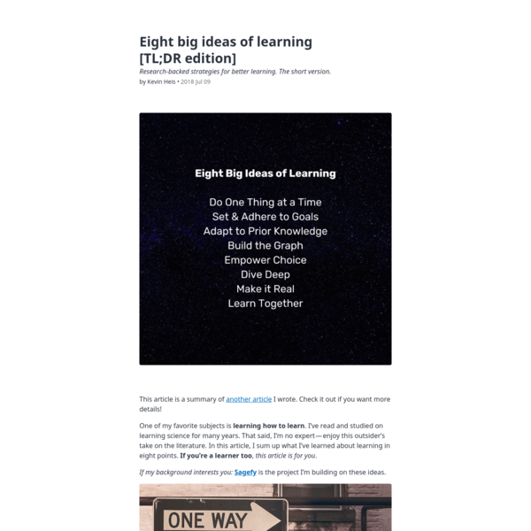 Eight big ideas of learning [TL;DR edition]