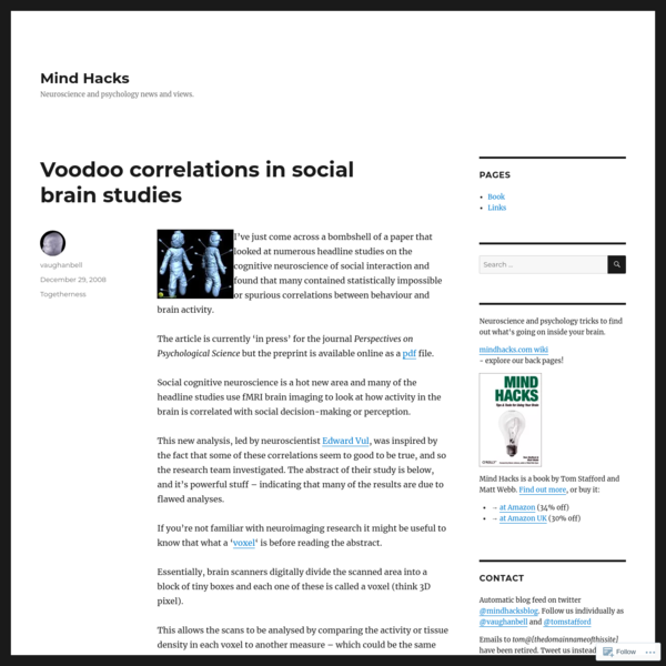 Voodoo correlations in social brain studies