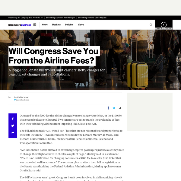 Will Congress Save You From the Airline Fees?
