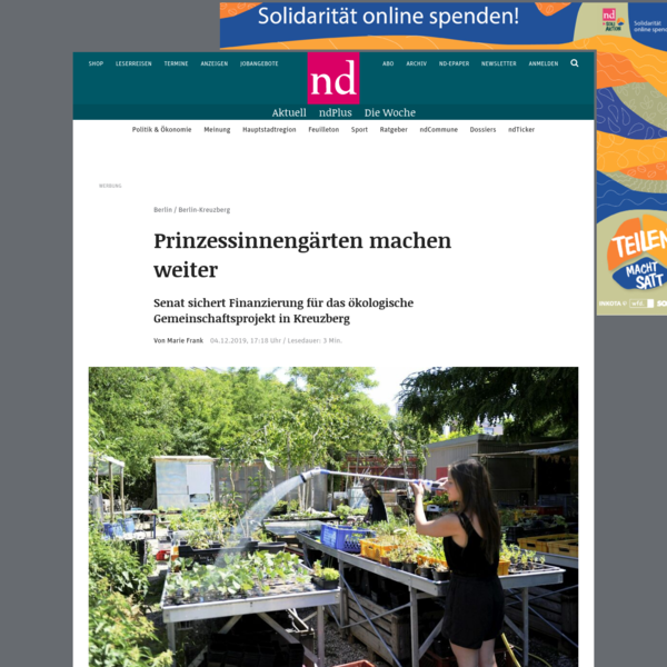 Prinzessinnengärten machen weiter (neues deutschland)