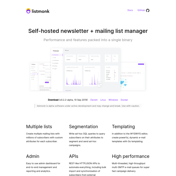 listmonk - Free and open source self-hosted newsletter and mailing list manager