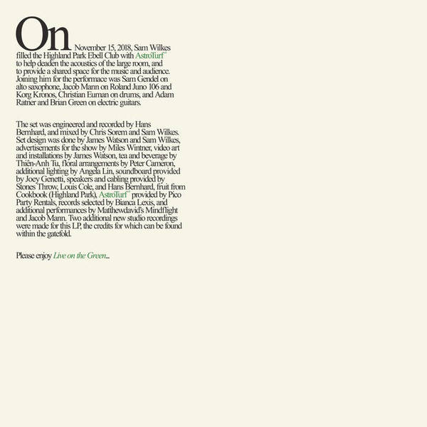 Live on The Green, by Sam Wilkes