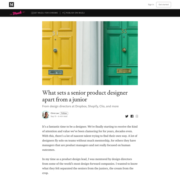 What sets a senior product designer apart from a junior