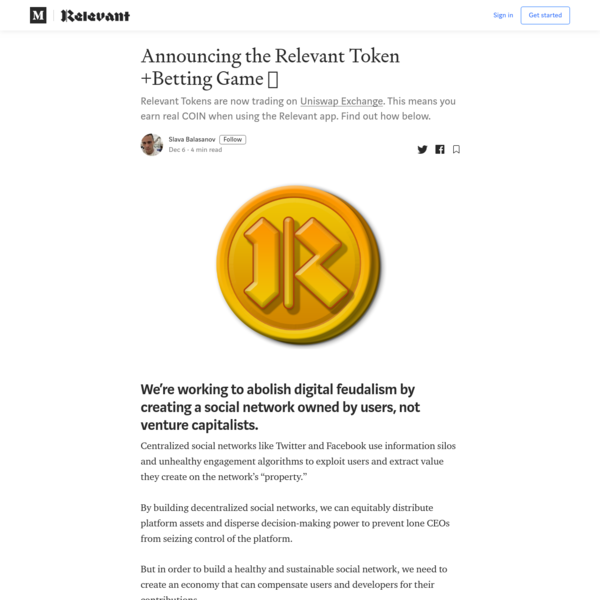 Announcing the Relevant Token + Betting Game 🤑